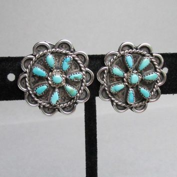 Native American Vintage ZUNI Needlepoint Petit Point Sterling Silver Turquoise Earrings