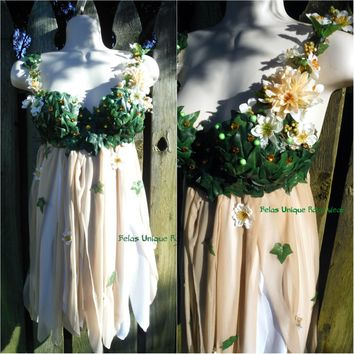 Woodland Forest Flower Fairy Babydoll Dress Bra Costume