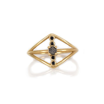 14kt Gold Black Diamond Warrior Shield Ring