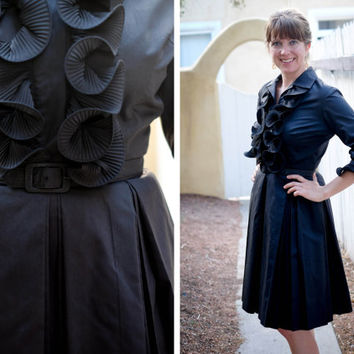 1950s Black Ruffle Shirt Dress / Mr. Eddie / Medium / Full Skirt / Day Dress