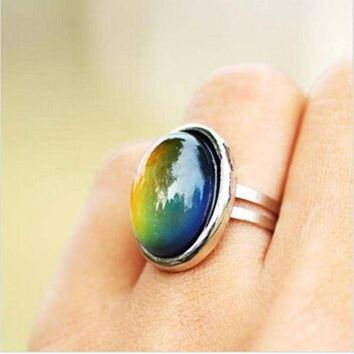 ESBONFI 2016 Crystal Jewelry Changing Color Mood Ring Temperature Emotion Feeling RINGS MOOD Adjustable Size Gifts event party  Supplies