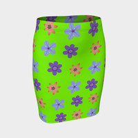 Flowers on android green Fitted Skirt