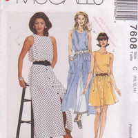 Pattern for sleeveless summer dress with button front skirt and petticoat in 2 lengths misses size 10 12 14 McCalls 7608 UNCUT