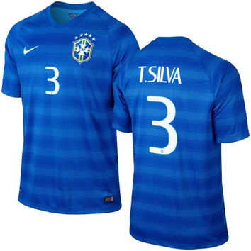 T. Silva #3 Brazil Nike 2014 World Soccer Replica Away Jersey - Royal Blue - http://www.shareasale.com/m-pr.cfm?merchantID=7124&userID=1042934&productID=540995196 / Brazil