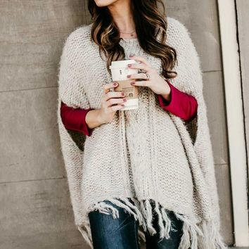 Lucky Charm Sweater Poncho with Fringe