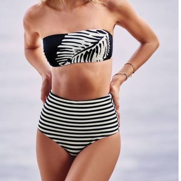 hot strapless black white leaf high waist stripe bikinis swimwear