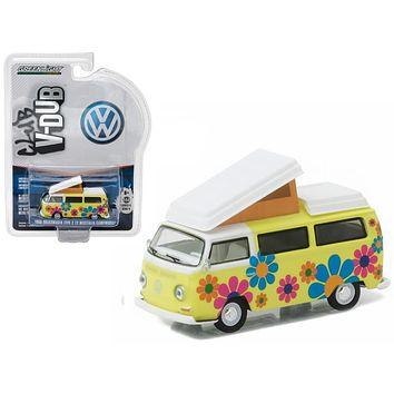 1968 Volkswagen Type 2 T2 Westfalia Campmobile Hippie Dippy Weather Van 1/64 Diecast Model by Greenlight