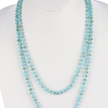 Turquoise Iridescent Glass Bead Extra Long Wraparound Necklace