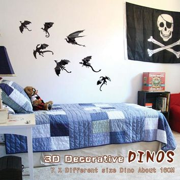 7pcs Gothic Dragons Wall Sticker Game of Thrones Inspired 3D Dragon Decor pegatinas de pared
