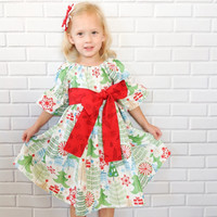 Girls Christmas Dress Baby Toddler Peasant Dress Red Green Boutique Clothing By Lucky Lizzy's
