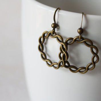 Infinity Circle Earrings - Open Circle Earrings - Braided Hoop - Antique Brass Circle Earrings on Hypoallergenic Hooks - Everyday Jewelry