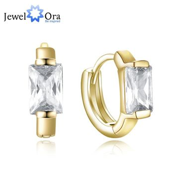 Gold-Color Hoop Earrings CZ Square Stone For Women 2018 Vintage Earrings Anniversary Gift Hot Sale (jewelora EA102945)