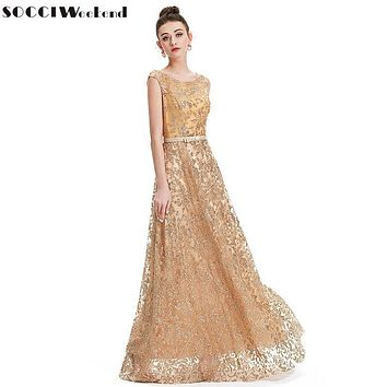 SOCCI Weekend 2017 Vintage Gold Embroidery Evening Dresses V Back Lace Up Modest Formal Prom Party Wedding Gowns abendkleider