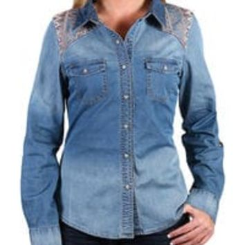 Shyanne® Women's Embroidered Chambray Shirt