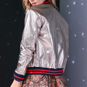 Silence + Noise Metallic Sport Trim Bomber Jacket - Urban Outfitters