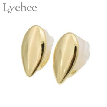 ac DCCKO2Q Lychee Hippop 1 pair Fang Single Teeth Cap Gold Silver Color Canine Custom Tooth Grills Fangs Dracula Teeth Grill Jewelry
