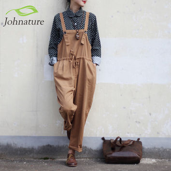 Johnature Vintage Cotton Linen Women Jumpsuits Full Length Loose Plus Size 2016 New Spring Mori Girl Strap Belt Rompers