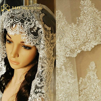 Real Photos 2015 White Ivory Wedding Veil 3M With Comb Lace Beads Mantilla Bridal Veil Wedding Accessories Veu De Noiva MD47