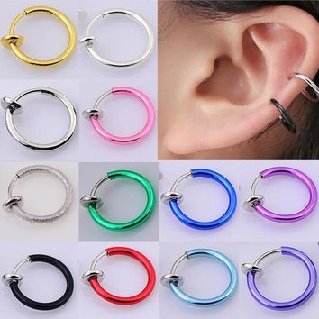 2 Pieces/lot Hoop Rings Fake Nose Ring Clip On Earrings Lip Rings Tragus Helix Earring Body Piercing Jewelry