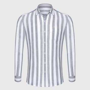Casual Shirt Men Striped Shirt Linen Male Slim Fit Men Shirt Long Sleeve Social Business