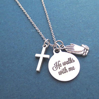 He walks with me, Cross, Prayer, Silver, Necklace, Gift, Jewelry