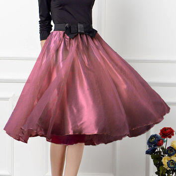 Elastic Waist Bow Accent Midi Ball Skirt