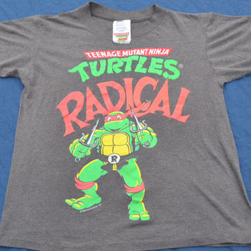"1991 Teenage Mutant Ninja Turtles ""Radical"" Kids TV Show T-Shirt Size Small 90's Cartoons 50/50"