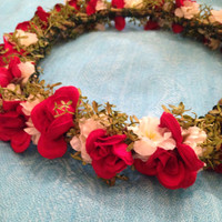 Handmade CWERKY flower crown wedding hair coachella EDC festival wear red roses natural woodland