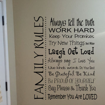 Family Rules Vinyl Wall Words Decal Sticker Graphic