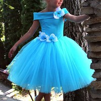 [58.99] Pretty Satin & Tulle Off-the-shoulder Neckline Ball Gown Flower Girls Dress With Handmade Flowers - dressilyme.com