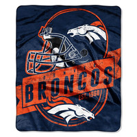 Denver Broncos NFL Royal Plush Raschel Blanket (Grand Stand Raschel) (50in x 60in)