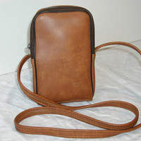 Brown Cross Body Bag / Accessory Pouch with Shoulder Strap - Vintage Kodak Camera Case