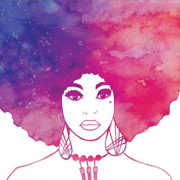 Afro Woman Art Print. LIMITED EDITION Original illustration. Square. digital watercolour / watercolor pink purple modern poster wall artwork
