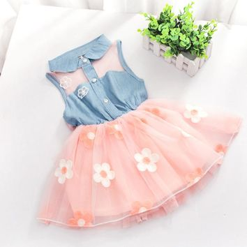 COCKCON New Style Princess Kids Baby Girl's Denim Sleeveless Tops Tulle Tutu Mini Dress 2-6 Years