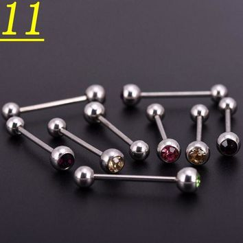 ac DCCKO2Q 100pcslot Mix Colors Crystal Stainless Steel Ball Horseshoes Barbell Eyebrow Nose Navel Belly Tongue Rings Body Piercing Jewelry