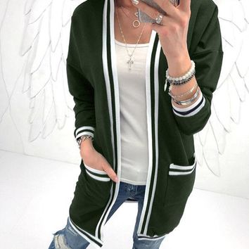 Green Casual Cardigan Sweater Jacket