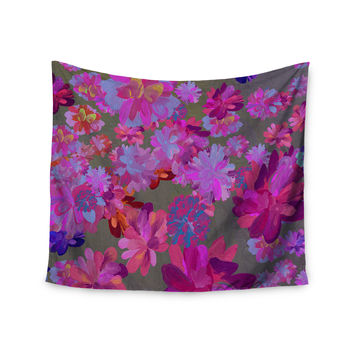 """Marianna Tankelevich """"Purple Flowers"""" Pink Blue Wall Tapestry"""