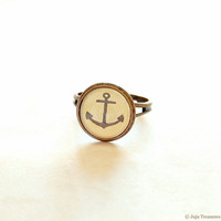 Anchor Ring Nautical Adjustable Ring Anchor by JujuTreasures