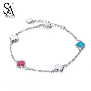 SA SILVERAGE Genuine 925 Sterling Silver Fine Jewelry Opal Lucky Four Leaf Clover Adjustable Link Bracelets Women Girl New
