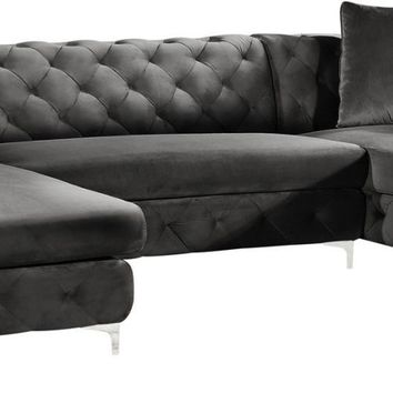 Gail Grey Velvet 3pc. Sectional