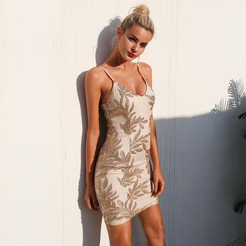 V Neck Mesh Elastic Sequins Dress