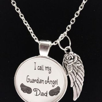 Guardian Angel Dad Father In Heaven Wing Call My Angel Dad Quote Memory Necklace