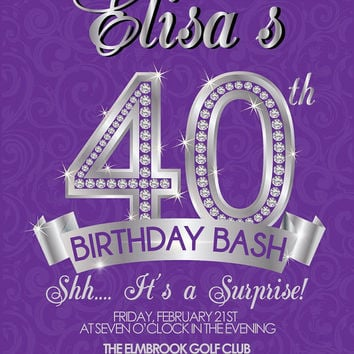 40th Birthday Invitation - Adult Birthday Invite - Surprise 40th Birthday Invitation
