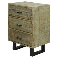 Solid Mango Wood 2 Door Storage Cabinet with Scored Finish and Metal Hardware On Metal Legs - Gray Wash - Stylecraft
