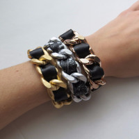 Ultra Luxe - Black Leather with Chunky Chain Bracelet