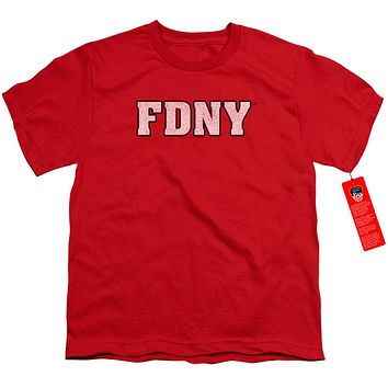FDNY Kids T-Shirt New York Fire Dept Logo Red Tee