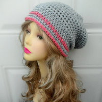 Grey and Pink Crochet Slouchy Hat / Crochet Baggy Beret / Grey Slouchy Beanie Hat/ Womens Hat