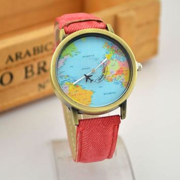 Trendy Gift New Arrival Great Deal Awesome Good Price Designer's Men Stylish Fashion Simple Vintage World Map Pattern Watch [6050484353]