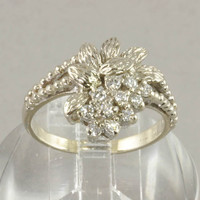 Diamond Ring - 14K White Gold And Diamonds with Floral Design