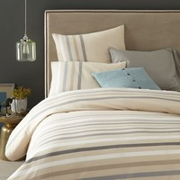 Playa Stripe Duvet Cover + Shams - Feather Gray